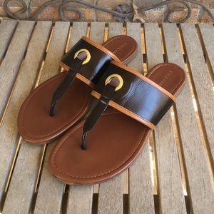 Cole Haan Black & Tan Thong Sandals